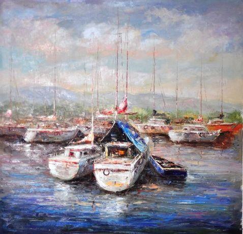 маслени бои на платно- лодки