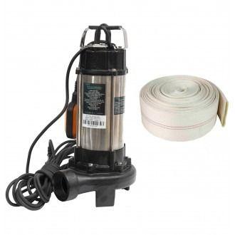 Set Pompa apa cu tocator 1500W, 23m3/Ora,+Furtun apa 2Tol 20m, Inox
