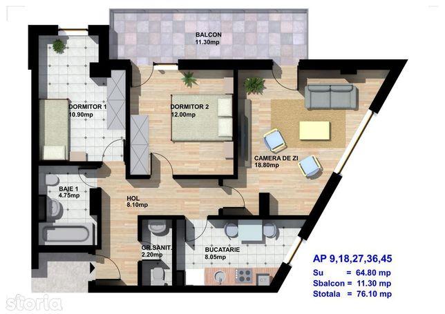 Bloc nou - apartament 3 camere