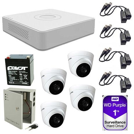 Sistem supraveghere video 4 camere 2MP Hikvision 1TB FullHD toate acc.