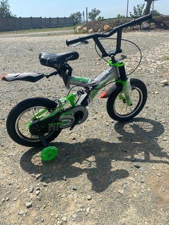 """Biciclete copii cu pedale 14"""",portbagaj ,roti ajutatoare ,cos jucarii."""