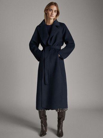Palton handmade Massimo Dutti, bleumarin