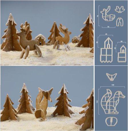 set forme de taiat aluat - peisaj de iarna 3D