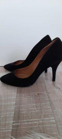 Кожени обувки на ток MANGO