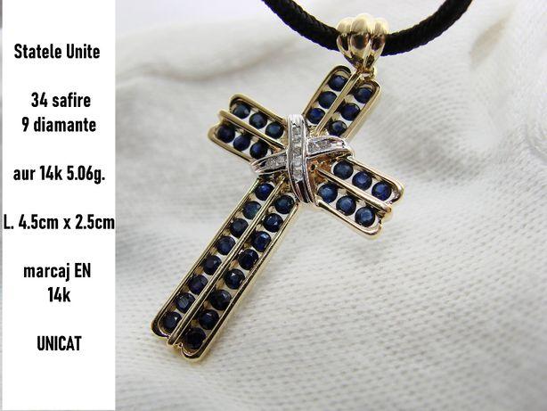 Cruciulita Cruce Aur 14K Cu Safire Si Diamante