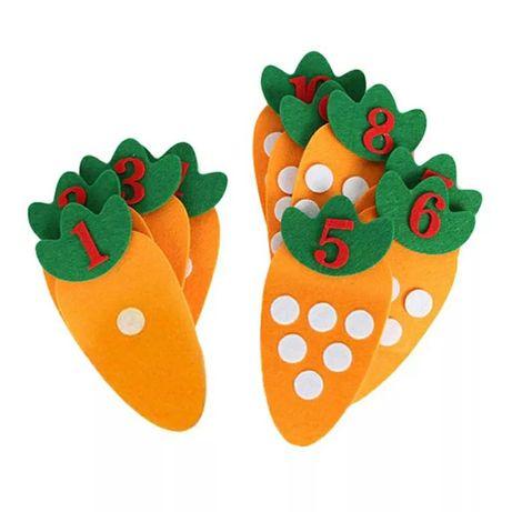 Игра по Монтесори - моркови и цифри