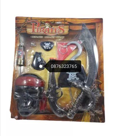 Детски играчки пиратски комплект 9 части Карнавален костюм аксесоари
