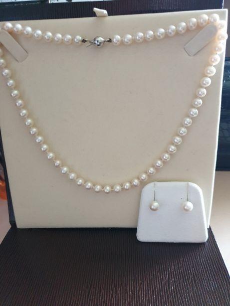 Set perle cercei si colier si aur alb 18k