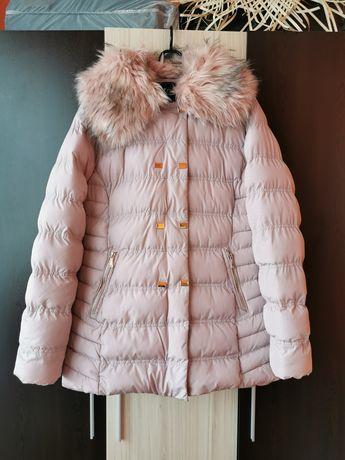 Зимно дамско яке в цвят пудра