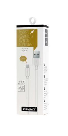 Универсален кабел с дължина -2м, type-c, micro usb, iphone pin-2.4А
