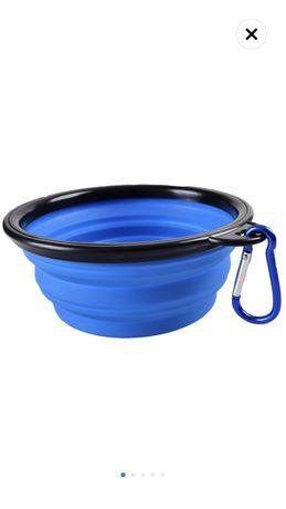 Bol portabil pentru hrana animale, silicon, pliabil, Albastru