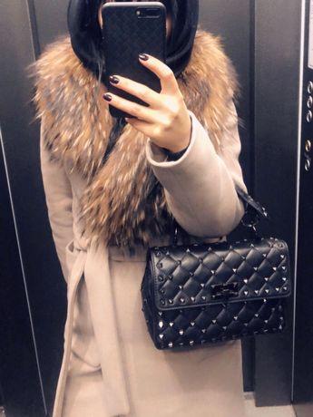 Пальто с натуральным мехом (Loreta)