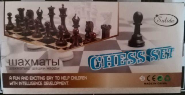 Шахматы деревянные 3в1 (шахматы+шашки+нарды). Размер 35х35см.