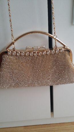 Дамска официална чанта златиста