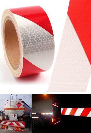 Тиксо 3D ефект светлоотразителна лента червено и бяло 50м х 5см.