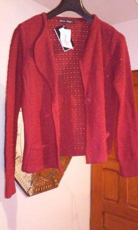 Jacheta dama cu revere din tricot, cu fir de lame