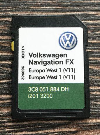 2019 VW Skoda Seat RNS 310 Amundsen Оригинална Sd Card FX West Europe