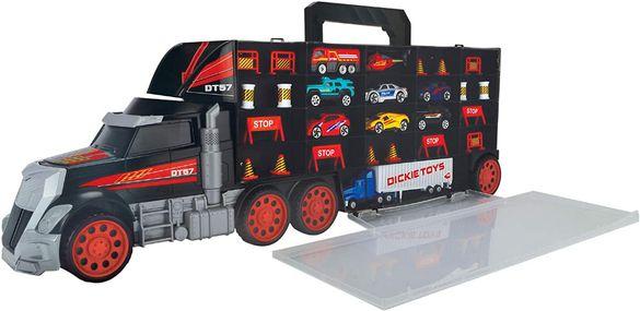 Dickie Toys Камион със 7 колички, 1 хеликоптер, 1 тир и аксесоари