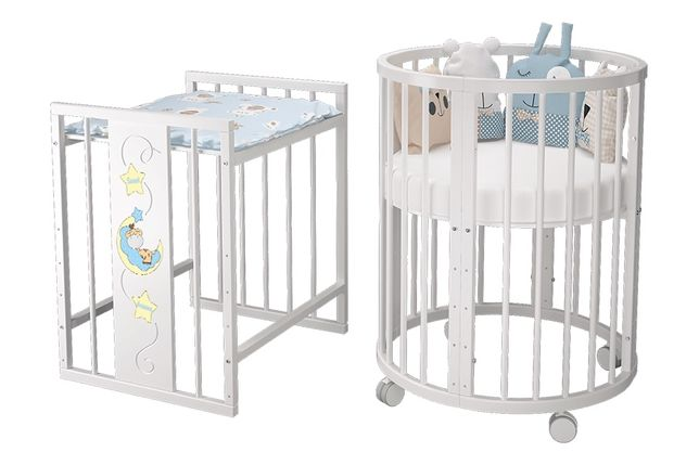 Детская кроватка (8 в 1) в подарок ночной светильник Chicco и бортики.