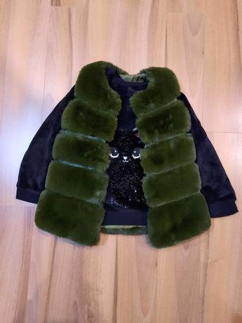Vesta blana artificiala, bluza h&m, compleu
