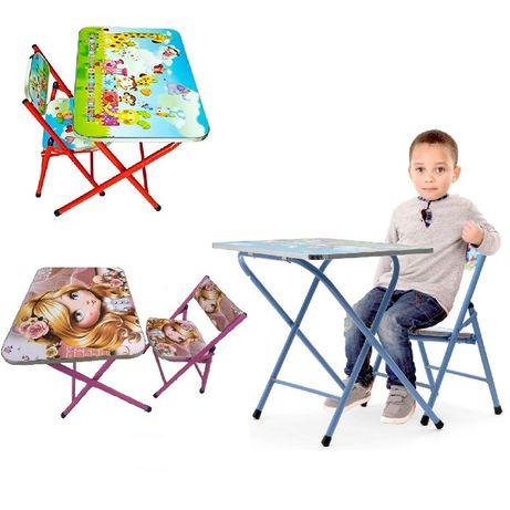 Най-новите модели сгъваеми детски комплекти маса + стола с картинки