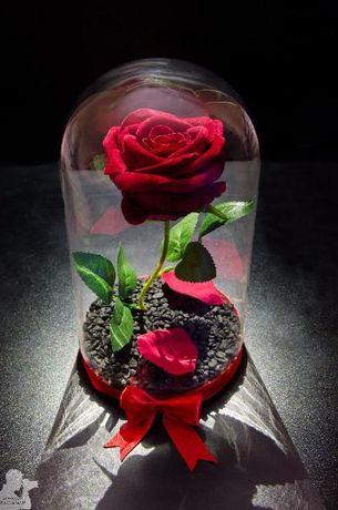 Вечна роза в ГОЛЯМА стъкленица - Оригинален и стилен подарък за жена