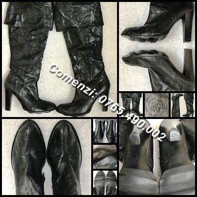 Cizme negre brand Diesel peste genunchi dama piele originale toc 11 cm