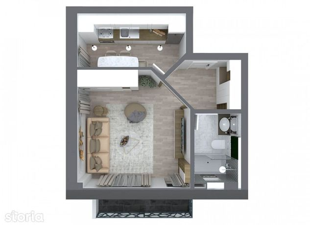 Apartament  1 camera Pacurari , 39 metri, etaj 2 Cod:141436
