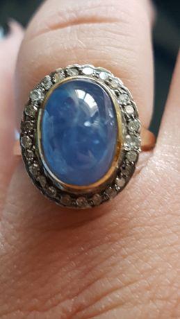 Inel anturaj aur 14k cu safir natural caboson si diamante naturale