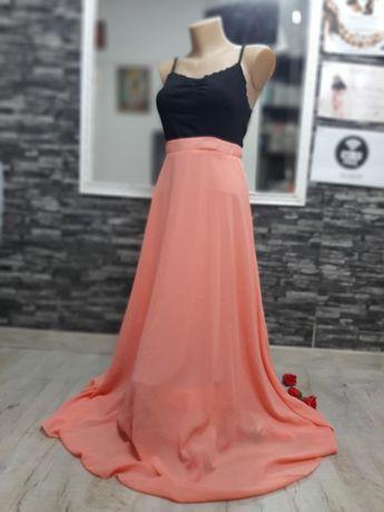Fusta lunga corai roz portocaliu
