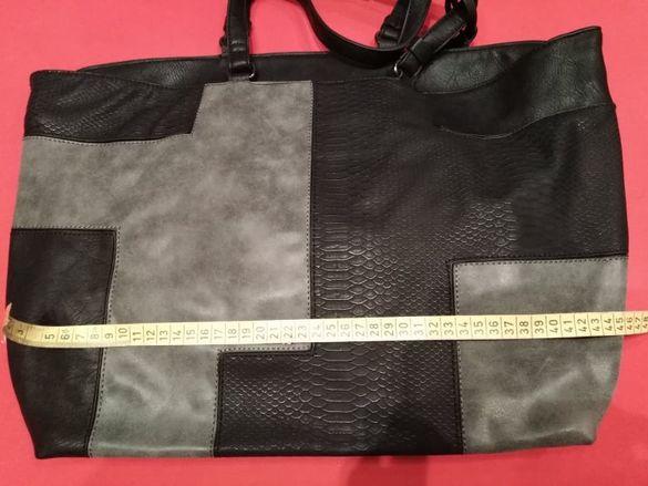 дамска чанта в сиво и черно с ефекти