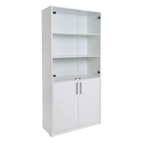 Витрина - шкаф с полочками и со стеклянными дверцами.