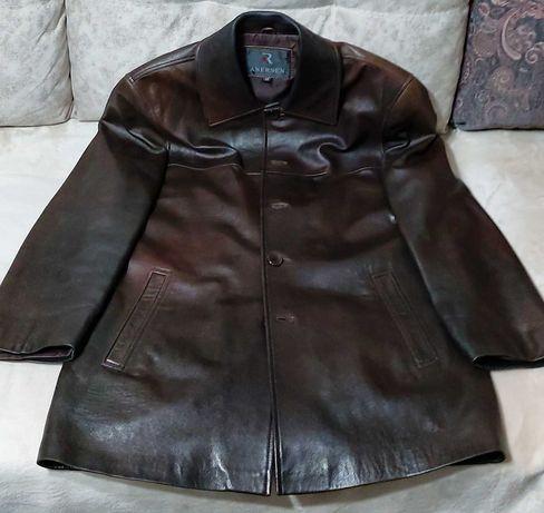 Продам мужскую кожаную куртку, осень / весна, размер 48