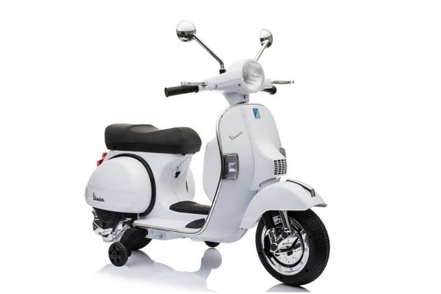 Motocicleta electrica pentru copii Scuter Vespa (PX150), Alb