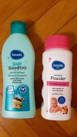 Нов Комплект козметика за бебе Бевола bevola-шампоан и пудра+подарък