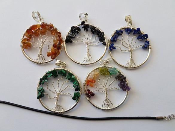Колие с естествени минерали 7 чакри,Амулет,Медальон,Дървото на живота