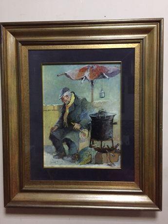 """Tablou vechi,autentic""""Castagnare""""Aniello Eco(1919-2000)!"""