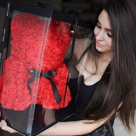 ШОК ЦЕНА! Мишка из 3D Роз.Подарки на День Рождения!Сувенир БЕСПЛАТНО!
