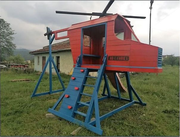 Loc de joacă elicopter cu topogan si leagan