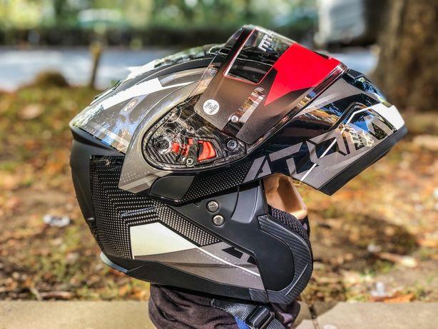 Casca Moto MT ATOM Sv Quark Gloss/Matt-Pearl White Flip-Up
