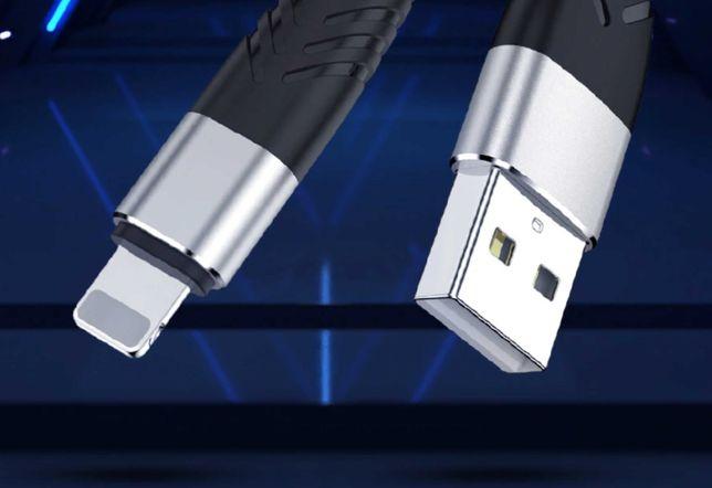 Cablu incarcare iphone, lightning, textil, nou, negru