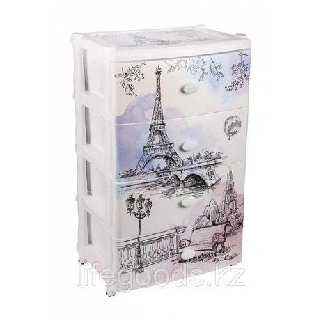 """Комод широкий """"Весна в Париже"""" 4-х секционный пластиковый, М2266"""