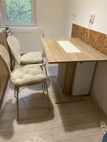 Masa bucatarie cu depozitare + 2 scaune