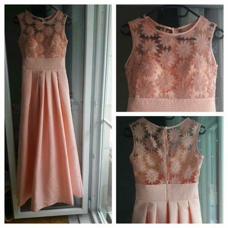 Rochie de gala eleganta lunga La Donna ,culoare peach,marime S