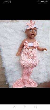 Sirenă fetita, costum crosetat sedinta foto bebelus, recuzita tricotat