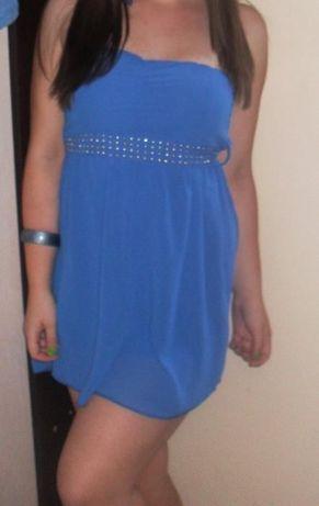 Синя копринена рокля - италианска