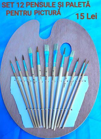 SET 12 Pensule cu Paletă pentru pictură ideal pentru SCOALĂ - 15 Lei