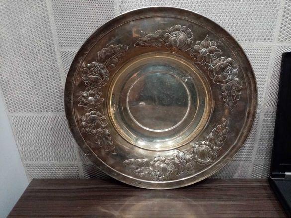 Старинна сребърна фруктиера купа 463гр 800 маркировка