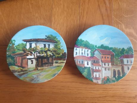 Ръчно рисувани декоративни дървени чинийки
