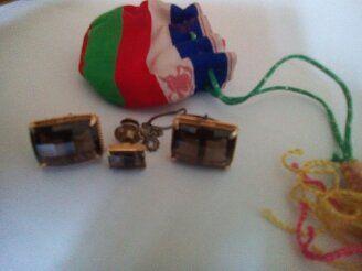 Копчета за ръкавели и игла за вратовръзка с камъни опушен топаз